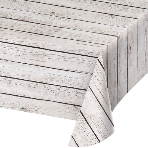 """Club Pack of 6 Brown and White Stripped Wooden Themed Decorative Table Cover 16.25"""" - IMAGE 1"""