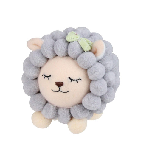 """4.75"""" Gray and Pink Plush Baby Lamb Spring Easter Decor - IMAGE 1"""