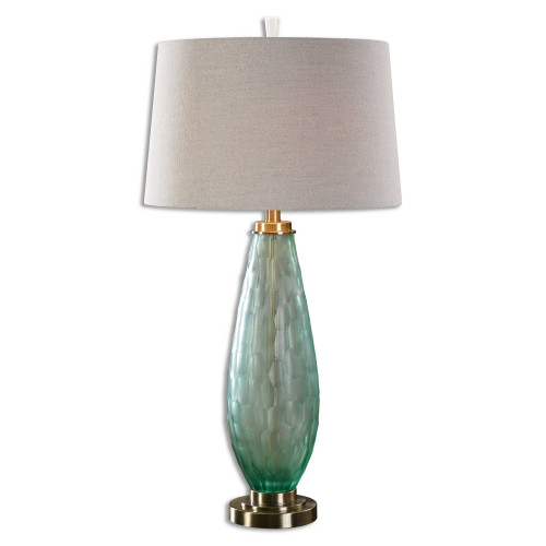 """32.75"""" Beige and Green Modern Style Table Lamp with Hardback Shade - IMAGE 1"""