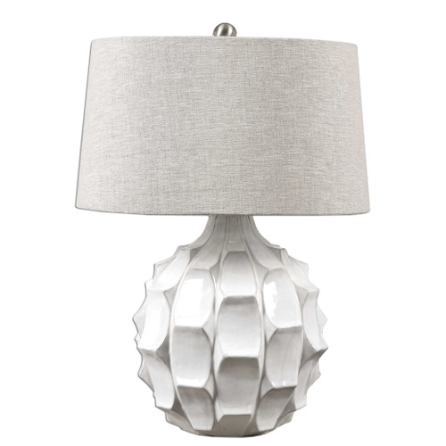 """27"""" White Glossy and Distressed Table Lamp with Round Taupe Gray Drum Shade - IMAGE 1"""