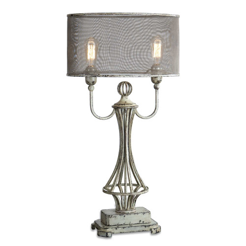 """33"""" Distressed Aged Ivory and Rustic Bronze with Screen Shade Table Lamp - IMAGE 1"""