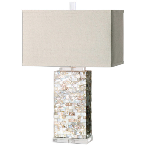 """28.5"""" Ivory and White Contemporary Table Lamp with Hardback Shade - IMAGE 1"""