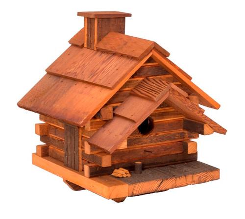 "16.75"" Fully Functional Bird-In-Hand Conestoga Log Cabin Outdoor Garden Bird Feeder - IMAGE 1"