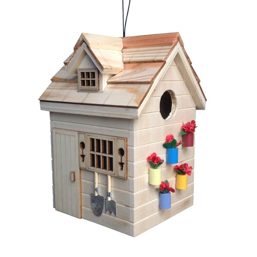 """7.75"""" Brown and Red Nestling Series Potting Shed Outdoor Birdhouse - IMAGE 1"""