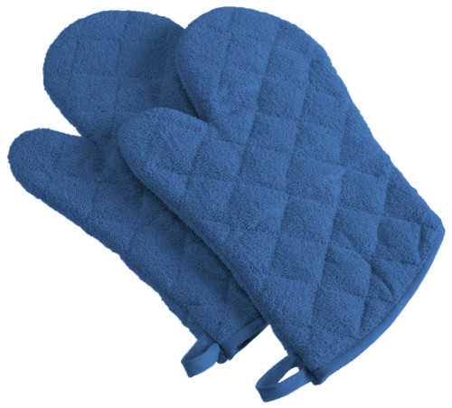 "Set of 2 Navy Blue Contemporary Oven Mitts with Loops 13"" - IMAGE 1"