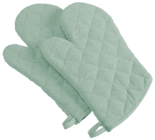 """Set of 2 Sage Green Contemporary Oven Mitts with Loops 13"""" - IMAGE 1"""