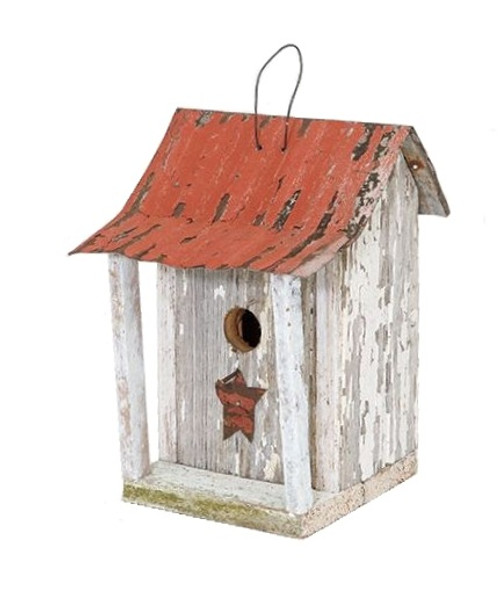 "11"" White and Red Eco-Friendly Chester County Outdoor Garden Bird House - IMAGE 1"