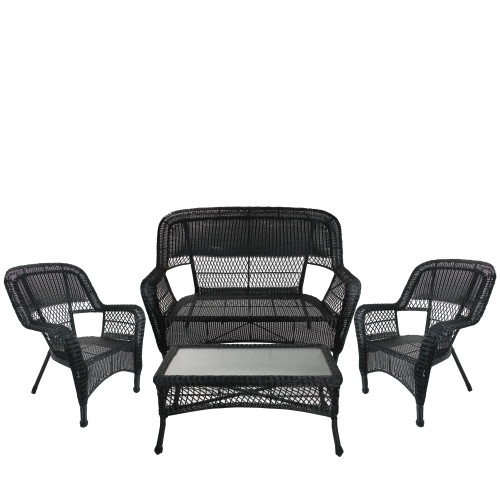 """4pc Black Steel Resin Outdoor Patio Furniture Set With Tempered Glass 51"""" - IMAGE 1"""