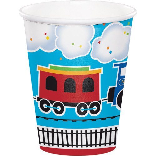 """Pack of 96 Blue and White """"All Aboard"""" Hot Cold Cups 3.75"""" - IMAGE 1"""