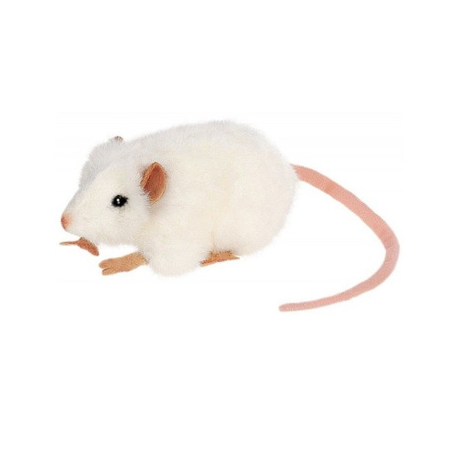 """4.65"""" Handcrafted White and Beige Life Size Plush Mouse Stuffed Animal - IMAGE 1"""