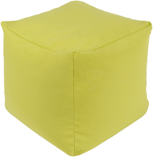 "18"" Lemon Green Hand Woven Squire Outdoor Ottoman Pouf with Knife Edge - IMAGE 1"