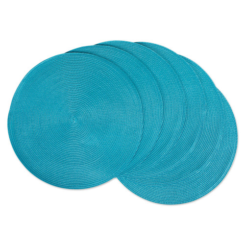 "Set of 6 Aqua Blue Round Woven Table Placemats 14.75"" - IMAGE 1"