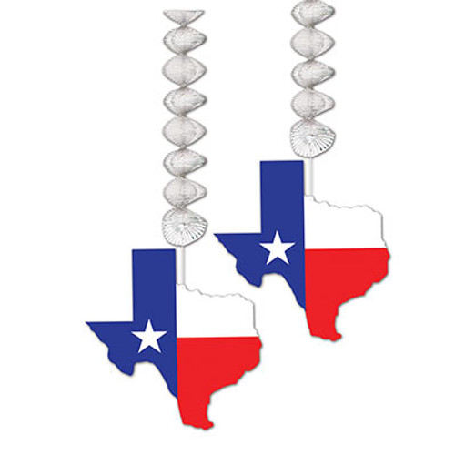 """Club Pack of 24 Decorative Red and Blue Texas Themed Dangler Decorations 9.5"""" - IMAGE 1"""