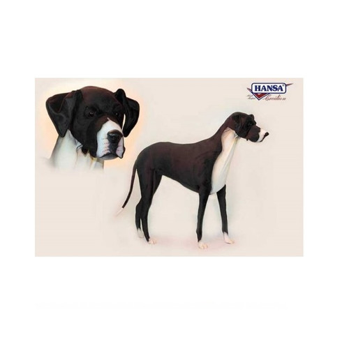 """68"""" Handcrafted Black and White Standing Plush Great Dane Stuffed Animal - IMAGE 1"""