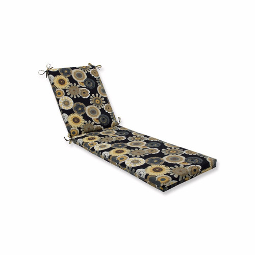 """80"""" Black and Yellow Floral Outdoor Patio Lounge Cushion with Ties - IMAGE 1"""