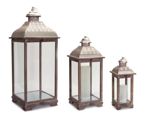 "Set of 3 Vintage Inspired Elegant Style Candle Lanterns 39"" - IMAGE 1"
