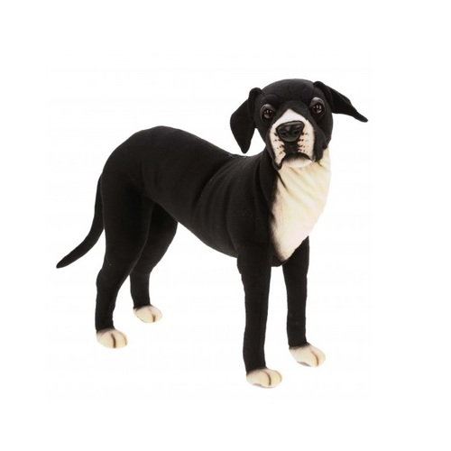 """25.5"""" Handcrafted Black and White Standing Plush Great Dane Stuffed Animal - IMAGE 1"""