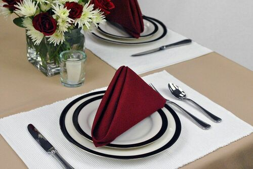 """Pack of 6 Winter White Rectangular Cloth Placemats 19"""" - IMAGE 1"""