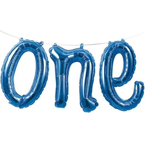 """Club Pack of 12 Blue """"one"""" Foil Balloon Banners 60"""" - IMAGE 1"""
