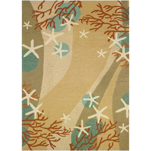 3' x 5' Brown and Blue Coral Waves Themed Rectangular Area Throw Rug - IMAGE 1
