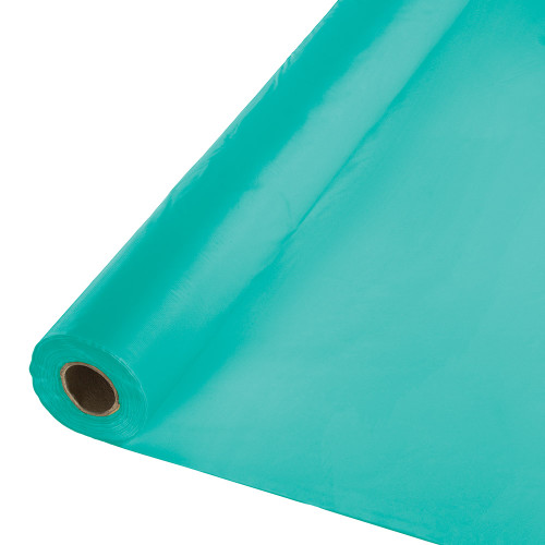 100' Teal Blue Decorative Disposable Lagoon Banquet Roll - IMAGE 1