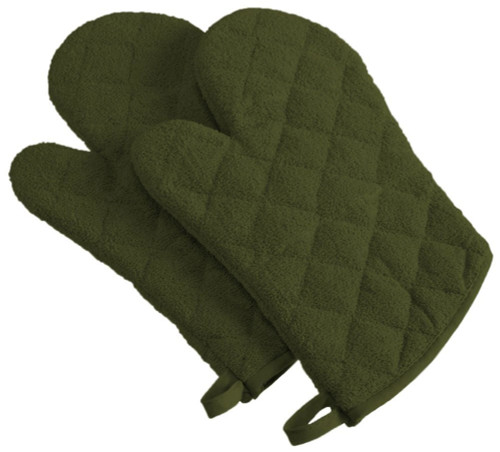 """Set of 2 Sage Green Decorative Quilted Diamond Patterned Oven Mitts 13"""" - IMAGE 1"""