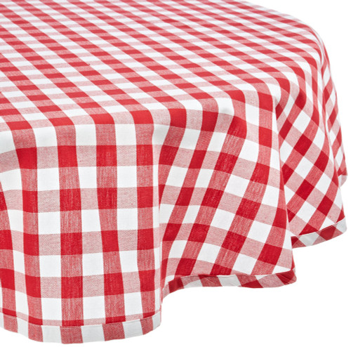 """84"""" x 60"""" White and Red Checkered Rectangular Tablecloth - IMAGE 1"""