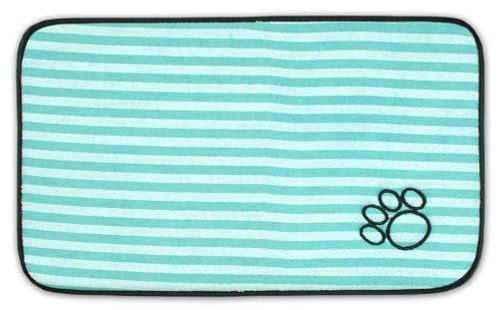 """18"""" Green and Black Striped Pattern Decorative Pet Mat With Piping Edges - IMAGE 1"""
