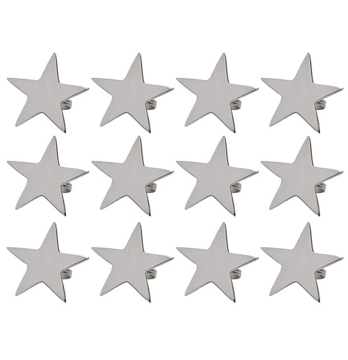 """Set of 12 Antique Silver Finished Party Decorative Star Napkin Rings 7.3"""" - IMAGE 1"""