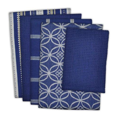 """Set of 5 Nautical Blue and White Rectangular Dishtowels 28"""" - IMAGE 1"""