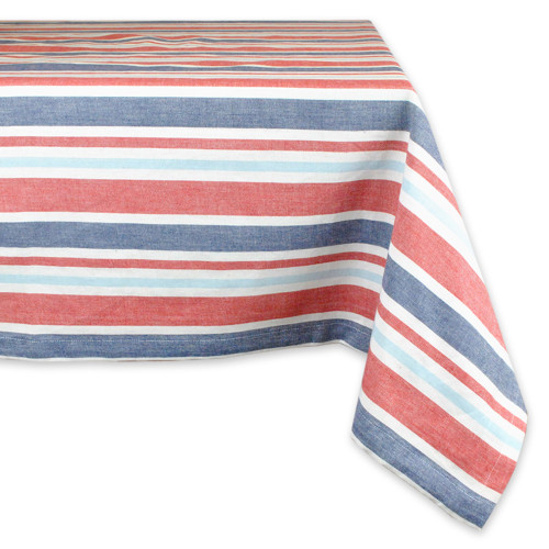 """84"""" x 60"""" Red and Blue Striped Rectangular Tablecloth - IMAGE 1"""