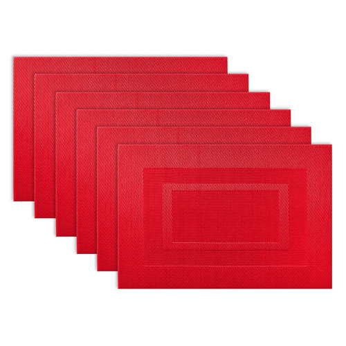 """Set of 6 Tango Red Contemporary Double Framed Rectangular Placemats 19"""" x 13"""" - IMAGE 1"""