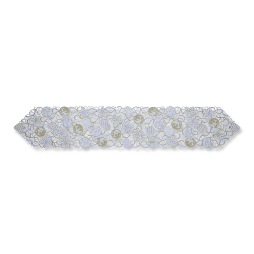 """68"""" White and Silver Embroidered Christmas Ornaments Table Runner - IMAGE 1"""