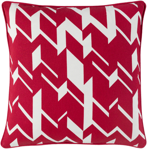 """18"""" Red and White Contemporary Geometric Square Throw Pillow - Down Filler - IMAGE 1"""