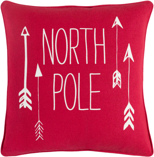 """18"""" Red and White """"North Pole"""" Quoted Decorative Woven Square Throw Pillow - Down Filler - IMAGE 1"""