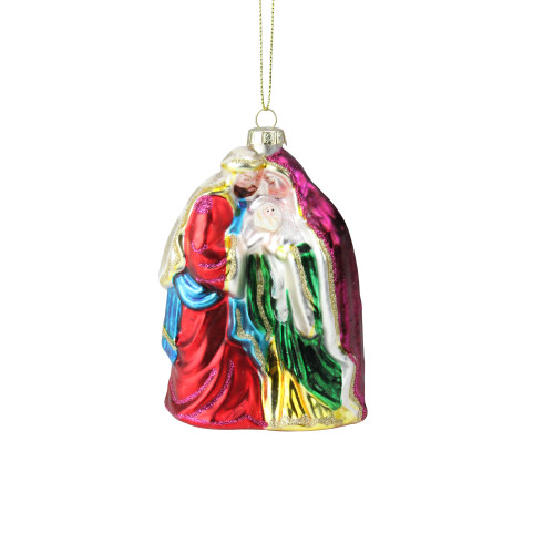 """5.5"""" Pink and Green Religious Holy Family Glass Christmas Ornament - IMAGE 1"""