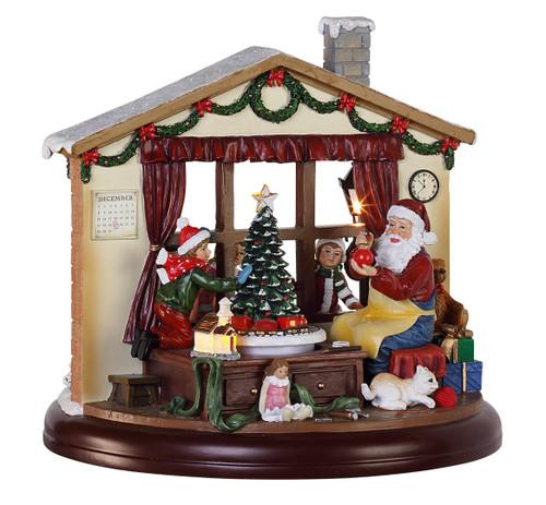 "8.5"" LED Double Sided Musical Christmas Window Scene with Santa - IMAGE 1"