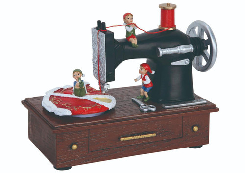 """Pack of 2 Musical Elf Sewing Machine Table Top Figures 5.5"""" - IMAGE 1"""