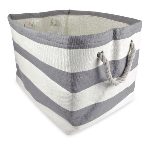 """17"""" Grey Striped Pattern Rectangular Storage Paper Basket - IMAGE 1"""