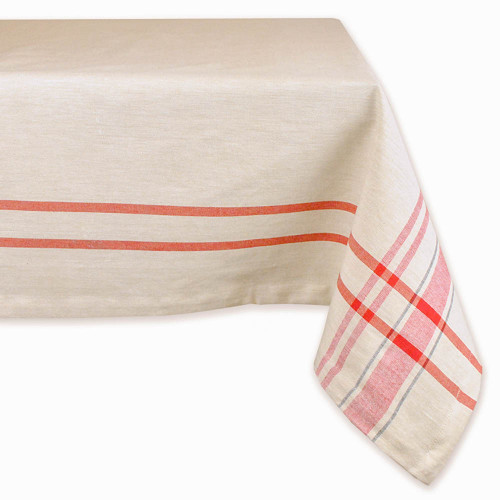 """84"""" x 60"""" Ivory and Red Striped Rectangular Tablecloth - IMAGE 1"""