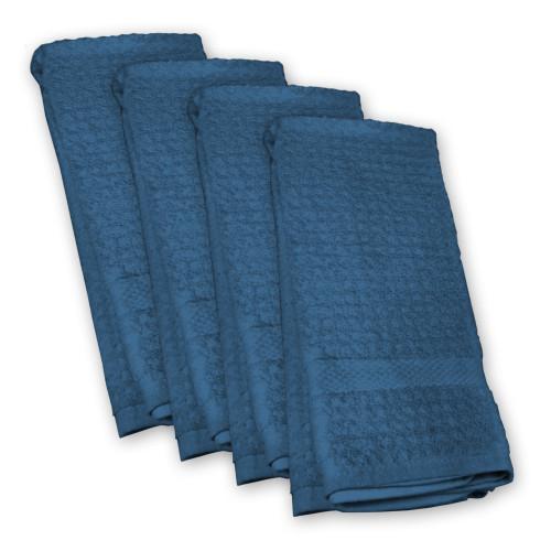 Set of 4 Navy Blue Colored Rectangular Dishtowel 20' x 30' - IMAGE 1