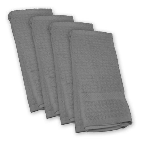 Set of 4 Waffle Gray Rectangular Dishtowel 18' x 28' - IMAGE 1