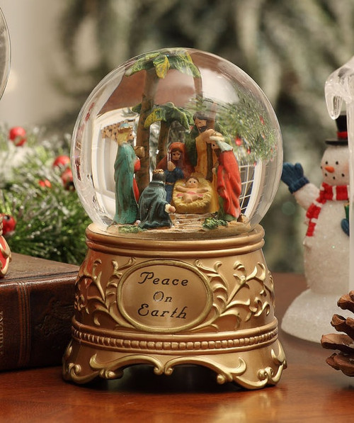 "Pack of 2 Inspirational Peace on Earth Nativity Christmas Water Globes 5.3"" - IMAGE 1"