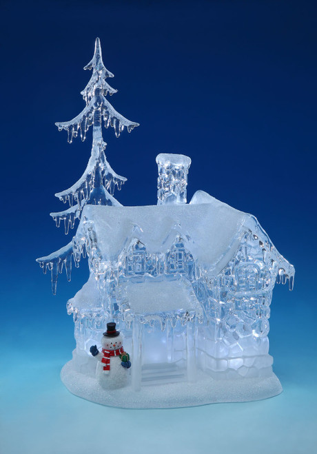 """17.1"""" LED Short Snow Icicle House Palace with Snowman Table Top Decor - IMAGE 1"""