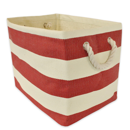 """17"""" Red and Ivory Striped Rectangular Sturdy Basket - IMAGE 1"""