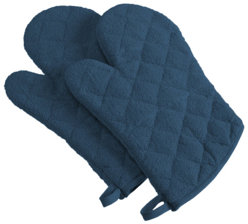 "Set of 2 Blue Diamond Pattern Quilted Oven Mitt with Hanger 13"" - IMAGE 1"