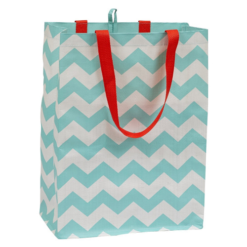 """Set of 3 Blue and White Chevron Patterned Reusable Shopping Bags 15"""" - IMAGE 1"""