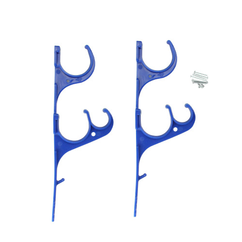 """Set of 2 Blue Pole and Vacuum Hose Swimming Pool Accessory Hangers 12.25"""" - IMAGE 1"""