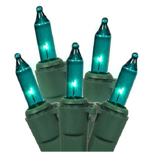Set of 100 Green Contemporary Teal Mini Christmas Lights - 19ft Green Wire - IMAGE 1