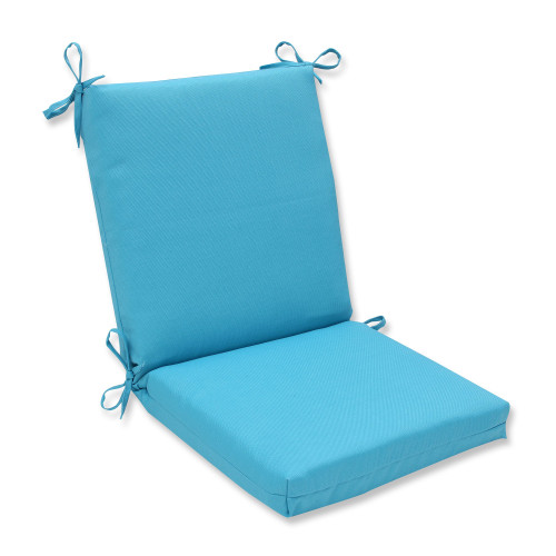 """36.5"""" Blue Rectangular UV/Fade Resistant Corners Chair Cushion with Ties - IMAGE 1"""